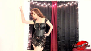 cammicams video 633 black leather corset dress